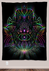 Hamsa Psychedelic UV-Reactive Tapestry (60x80in) - Tetramode® | Psy Styles. Men & Womens Psychedelic Tops & Bottoms