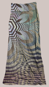 Psychedelic Breathable & Flowy Incipient Synergy Skirt Brown Blue Geometric Futuristic