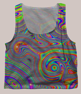 Liquisyrgic Psychedelic Graphic Print Crop Top