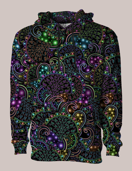 Neopaisley Psychedelic Pullover Hoodie ⊶⌘⊷ Unisex Jacket, Psytrance Top, Psychedelic Clothing, EDM Gear, Rave Style, Festival Wear
