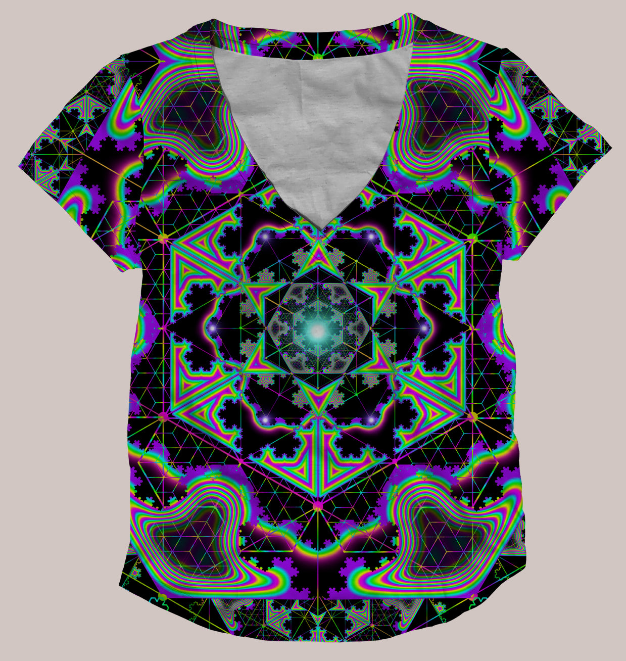 Microgram :: Psychedelic Women's All-Over Print Geometry Shirt - Tetramode® | Psy Styles. Men & Womens Psychedelic Tops & Bottoms