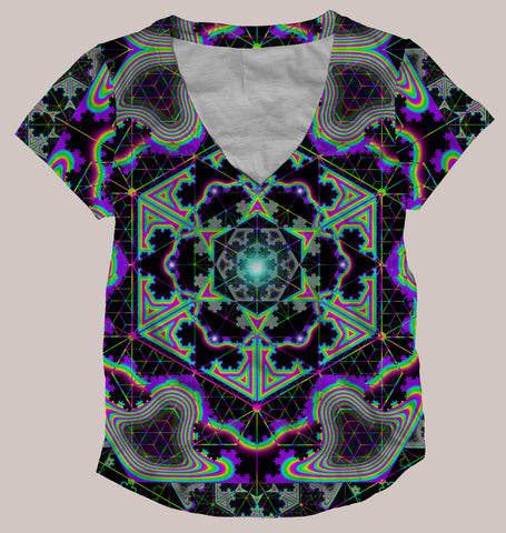 Microgram :: Psychedelic Women's All-Over Print Geometry Shirt (Back)