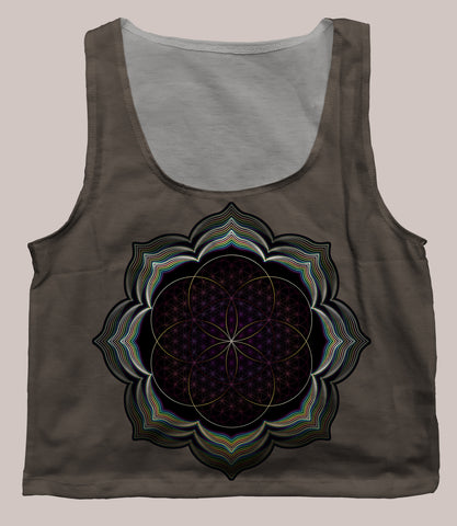 Celestial Bloom Crop Top - Tetramode® | Psy Styles. Men & Womens Psychedelic Tops & Bottoms