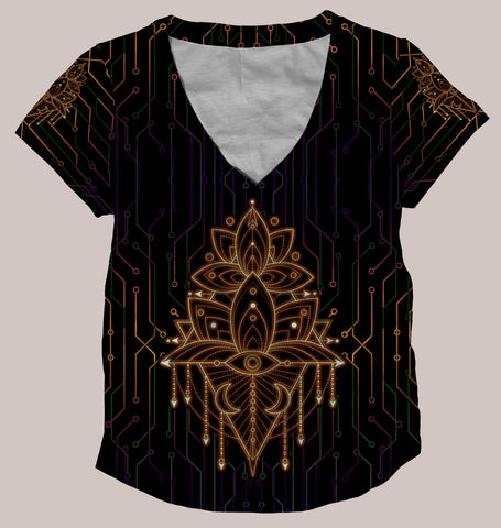 Esoteric Alchemy :: Psychedelic Women's All-Over Print Shirt - Tetramode® | Psy Styles. Men & Womens Psychedelic Tops & Bottoms