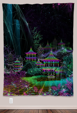 Kasumi Psychedelic UV-Reactive Tapestry (60x80in) - Tetramode® | Psy Styles. Men & Womens Psychedelic Tops & Bottoms