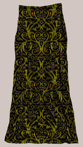 Psychedelic Breathable & Flowy Arcanium Synergy Skirt Gold Floral Eastern Oriental