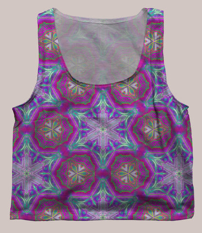 Entheoelectric Psychedelic Graphic Print Crop Top