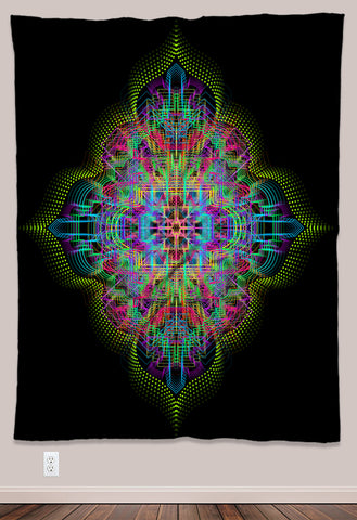 Trance Fusion Psychedelic UV-Reactive Tapestry (60x80in) - Tetramode® | Psy Styles. Men & Womens Psychedelic Tops & Bottoms
