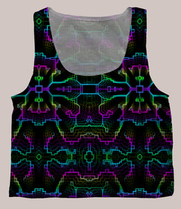 Techno Shamanic RGB Psychedelic Graphic Print Crop Top