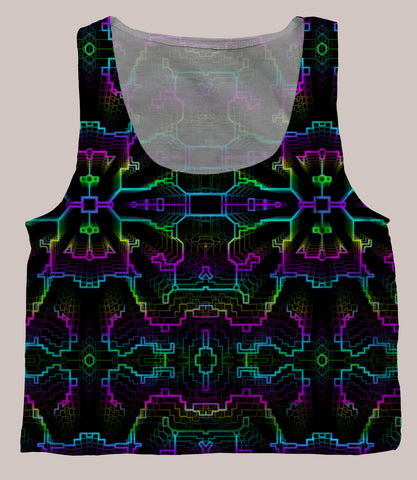 Techno Shamanic RGB Crop Top - Tetramode® | Psy Styles. Men & Womens Psychedelic Tops & Bottoms