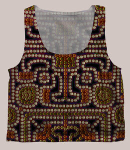 Kahatsa Psychedelic Graphic Print Crop Top