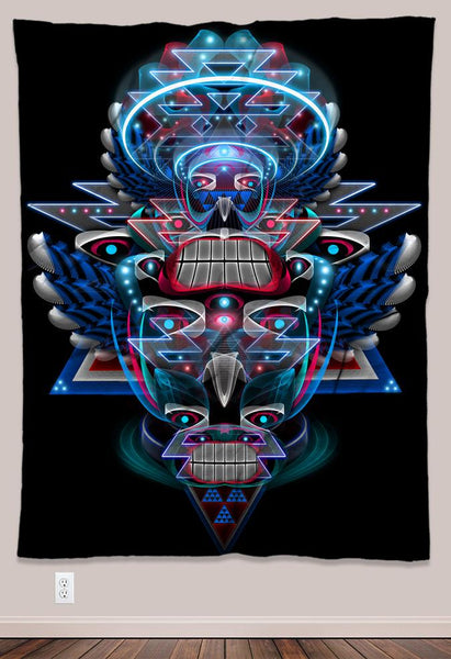 Primitive Voices Psychedelic UV-Active Neon Tapestry (60x80in)