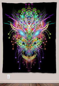 Dracomethyltryptamine Psychedelic UV-Reactive Tapestry (60x80in) - Tetramode® | Psy Styles. Men & Womens Psychedelic Tops & Bottoms