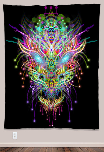 Dracomethyltryptamine Psychedelic UV-Reactive Tapestry (60x80in)