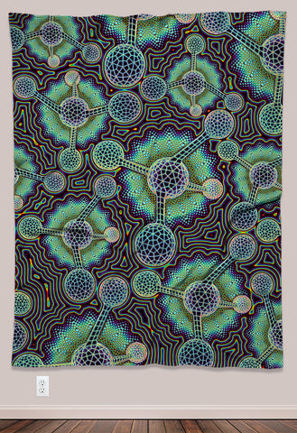 Microverse Psychedelic UV-Reactive Tapestry (60x80in) - Tetramode® | Psy Styles. Men & Womens Psychedelic Tops & Bottoms
