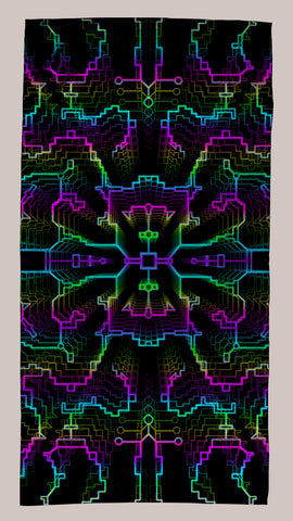 Techno Shamanic RGB Immersion Towel - Tetramode® | Psy Styles. Men & Womens Psychedelic Tops & Bottoms