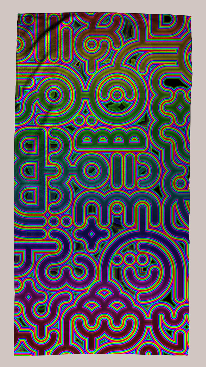 Psychedelic Vibrant Fade Resistant Art Beach Towel