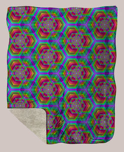 Hexafun ◊ Sherpa Retreat Blanket - Tetramode® | Psy Styles. Men & Womens Psychedelic Tops & Bottoms