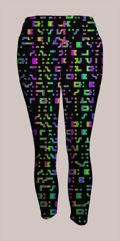 Glyphik Crop Leggings - Tetramode® | Psy Styles. Men & Womens Psychedelic Tops & Bottoms