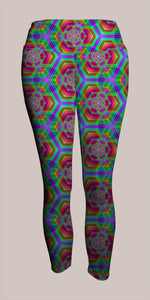 Hexafun Crop Leggings - Tetramode® | Psy Styles. Men & Womens Psychedelic Tops & Bottoms