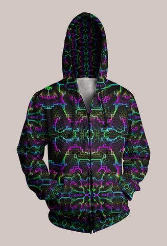 Techno Shamanic RGB Psytrance Designer Hoodie (Unisex) - Tetramode® | Psy Styles. Men & Womens Psychedelic Tops & Bottoms