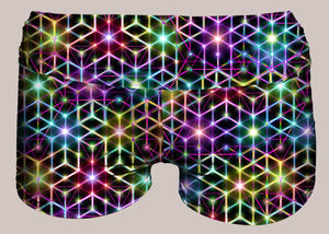 Womens Yoga Shorts, Womens Active Shorts, Alexander Shulgin, 2CB, Psychedelic, Rainbow, Trippy, Psychonaut, EDM, Electric Daisy Carnival, Music Festivals