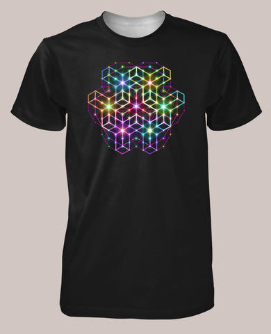 Men's Black Shirt, Goa Style, Alexander Shulgin, 2CB, Psychedelic, Rainbow, Trippy, Psychonaut, EDM, Electric Daisy Carnival, Music Festivals