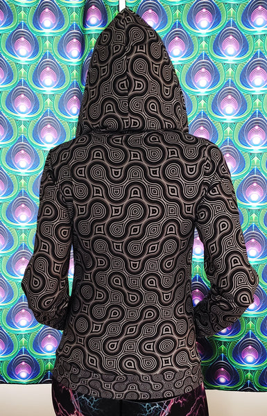 Thumbprint Psychedelic Womens Designer Hoodie - Tetramode® | Psy Styles. Men & Womens Psychedelic Tops & Bottoms