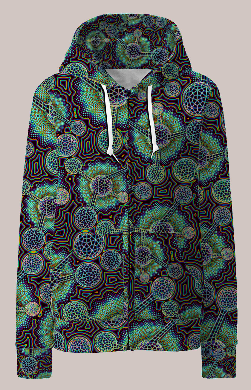 Microverse Psychedelic Womens Designer Hoodie - Tetramode® | Psy Styles. Men & Womens Psychedelic Tops & Bottoms
