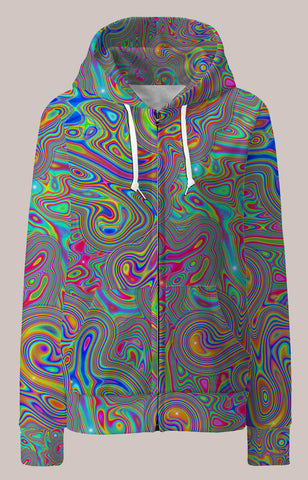 Liquisyrgic Psychedelic Womens Designer Hoodie - Tetramode® | Psy Styles. Men & Womens Psychedelic Tops & Bottoms