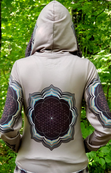 Celestial Bloom Psychedelic Womens Designer Hoodie - Tetramode® | Psy Styles. Men & Womens Psychedelic Tops & Bottoms
