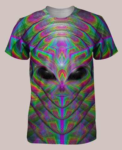 Xenoethesia :: Men's All-Over Psychedelic Alien Terrence McKenna Shirt (Front)