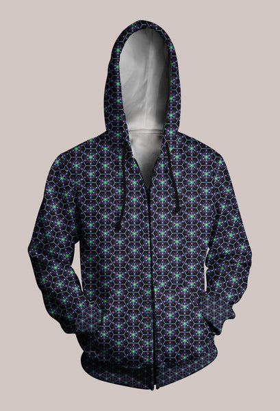 Sacred Geometry Patterned Trippy Hoodie