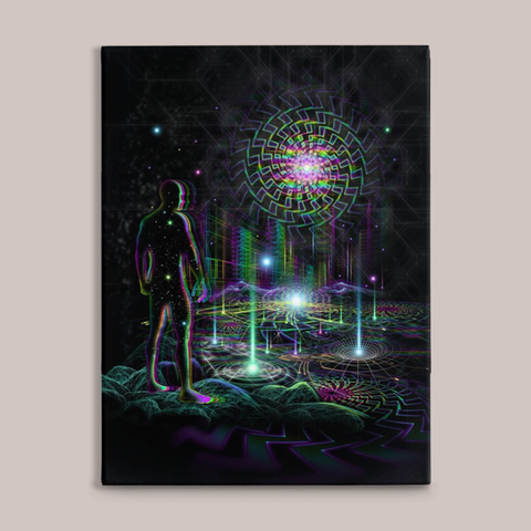 Time Traveling Fine Art Canvas Print - Tetramode® | Psy Styles. Men & Womens Psychedelic Tops & Bottoms