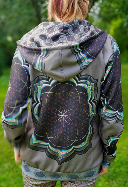 Celestial Bloom Psytrance Designer Hoodie (Unisex) - Tetramode® | Psy Styles. Men & Womens Psychedelic Tops & Bottoms