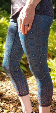Octone (Blue) Crop Leggings - Tetramode® | Psy Styles. Men & Womens Psychedelic Tops & Bottoms