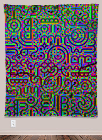 Psylingual Psychedelic UV-Reactive Tapestry (50x60in) - Tetramode® | Psy Styles. Men & Womens Psychedelic Tops & Bottoms