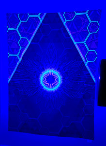 Artificial Intelligence Psychedelic Alien UV-Active Neon Tapestry (50x60in)