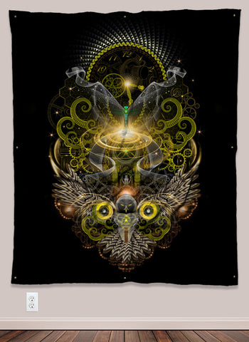 Golden Owl Steampunk UV-Reactive Psychedelic Wall Art