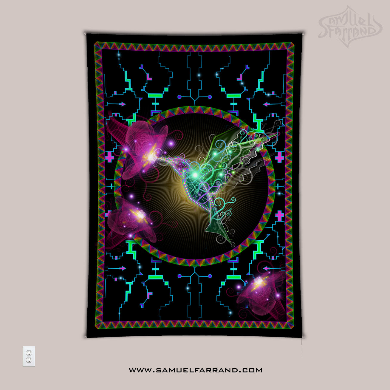 Divine Hummingbird UV-Reactive Psychedelic Wall Art