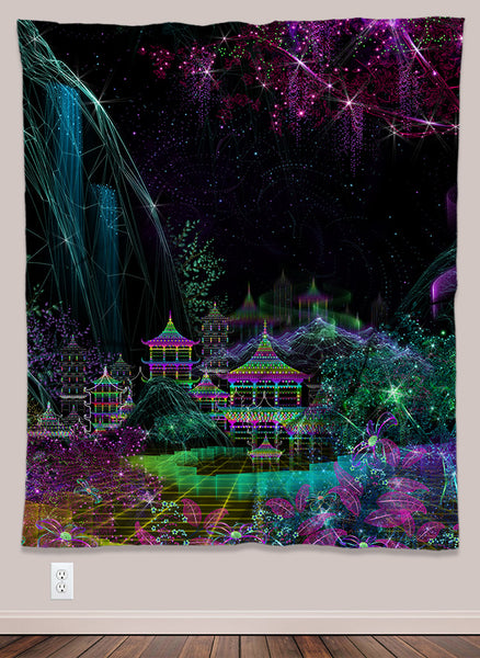 Kasumi Psychedelic UV-Reactive Tapestry (50x60in) - Tetramode® | Psy Styles. Men & Womens Psychedelic Tops & Bottoms