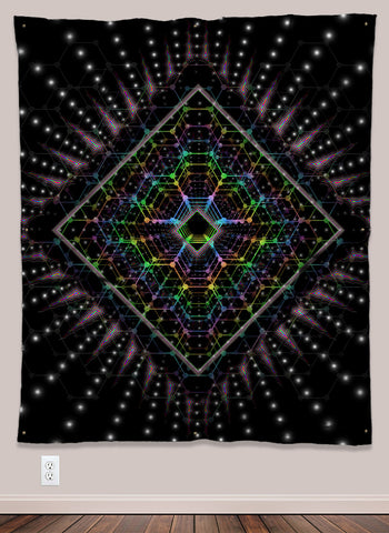 Lightspeed Psychedelic UV-Reactive Tapestry (50x60in) - Tetramode® | Psy Styles. Men & Womens Psychedelic Tops & Bottoms