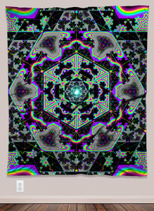 Rainbow Acid Geometric Pattern UV-Reactive Psychedelic Wall Art