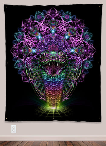 Rainbow Cobra Serpent UV-Reactive Psychedelic Wall Art