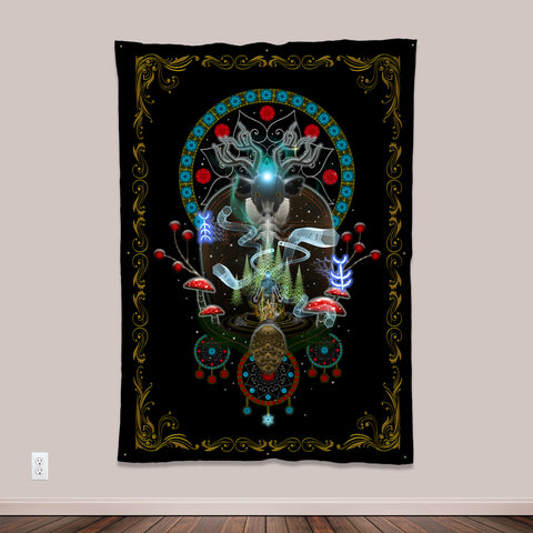 Noaidi Psychedelic UV-Reactive Tapestry by Visionary Artist Samuel Farrand