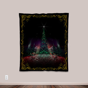 Oh Christmas Tree Psychedelic UV-Reactive Tapestry by Visionary Artist Samuel Farrand