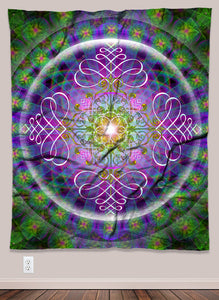 Plant Consciousness Psychedelic UV-Reactive Tapestry (50x60in)