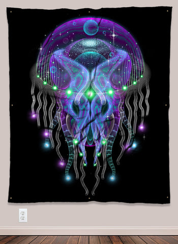 Psychezoa Luminosum Psychedelic UV-Reactive Tapestry (50x60in) - Tetramode® | Psy Styles. Men & Womens Psychedelic Tops & Bottoms