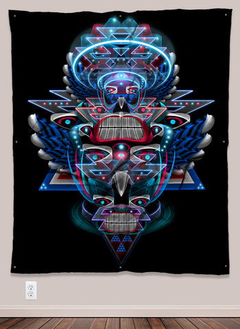 Haida Nortwest Coast Shaman Indian UV-Reactive Psychedelic Wall Art