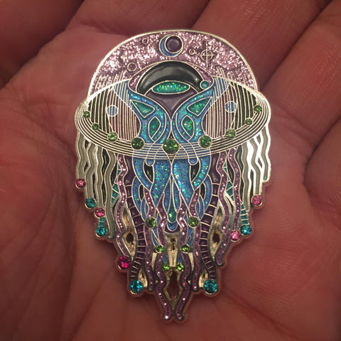 Psychezoa Luminosum Pin - Tetramode® | Psy Styles. Men & Womens Psychedelic Tops & Bottoms